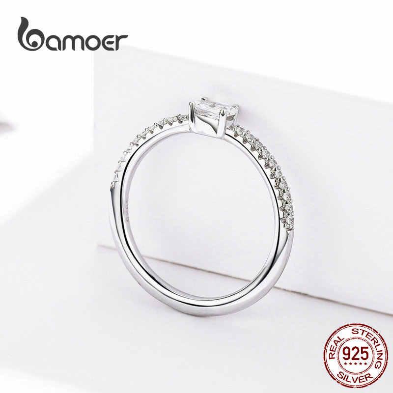 Bamoer Bruiloft Ring Sterling Zilver 925 Clear Cubic Zirconia Engagement Rings Voor Vrouwen Beloven Statement Sieraden SCR524