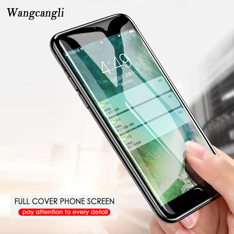 wangcangli 4D Full Cover Edge Tempered Glass on the For iPhone X 7 8 6 6S Plus Screen Protector Film Protection protective