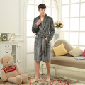 Cinza roupão dos homens estilo simples longo robes para as mulheres confortável roupão homewear robe roupa em casa para os homens quentes