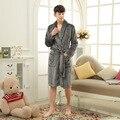 men's gray bathrobe simple style long robes for women comfortable homewear robe home clothes for men warm bathrobe