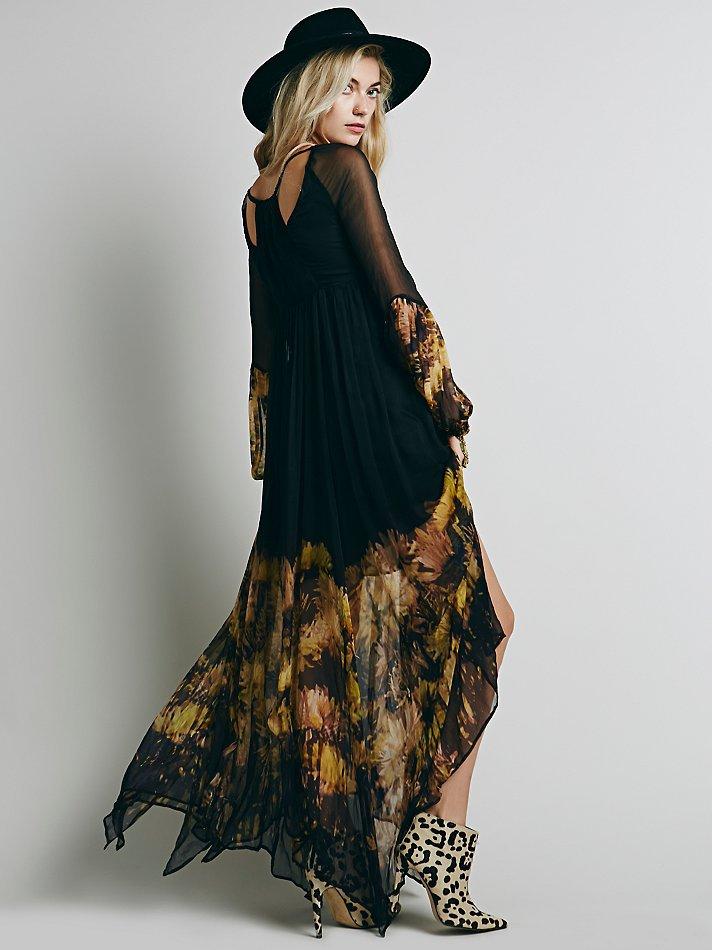 Print plus size dress long sleeve