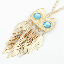 TOFOL Necklace Women Gold Leaves Owl Charm Chain Long Female Pendant Necklaces Fashion Jewelry