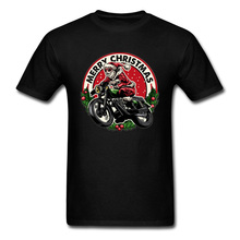 High Quality Popular T Shirts Santa Motorcycle Geek Tshirts Cool Fashion Newest Merry Christmas Best Gift T-Shirts Man