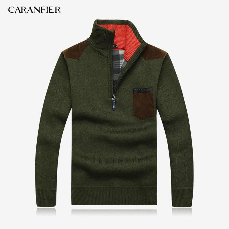CARANFIER 3PC SNew 2019 Mens เสื้อกันหนาวหนาฤดูหนาวซิปเสื้อกันหนาว Cashmere เสื้อกันหนาวผู้ชายเสื้อ Homme Plus ขนาด 3XL