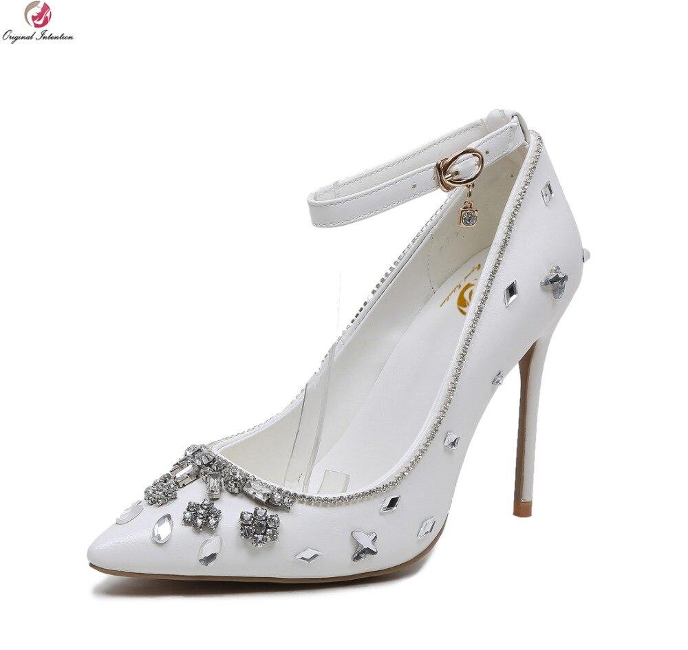 Первоначальное намерение женские туфли-лодочки 2017 г. элегантный острый носок шпильки свадебные туфли-лодочки модные белые женские туфли; Б...
