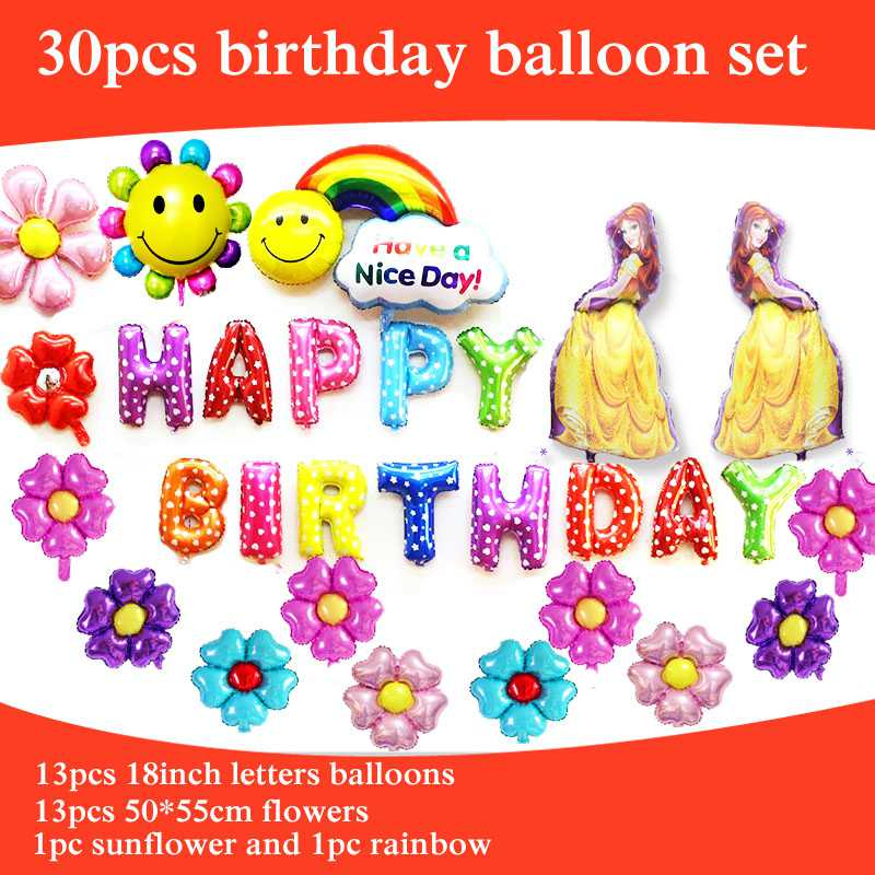 Event & Party 30pcs/lot Large Princess Belle Balloon For Girl Birthday Party Balloon Include Letters Flower Bella Foil Balloon Kid Toys Home & Garden