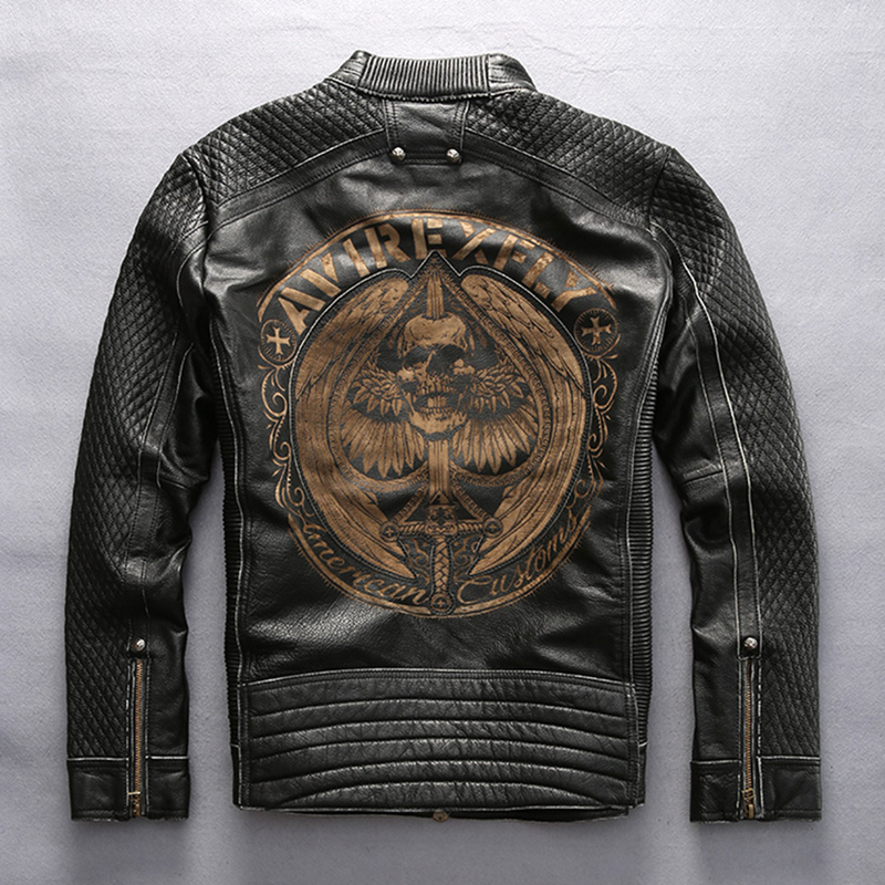 AVIREXFLY Men's Genuine Leather Embroidery Skull Jacket Motor Vintage Pattern Black Jacket Luxury Cowhide Coat DHL Free Shipping