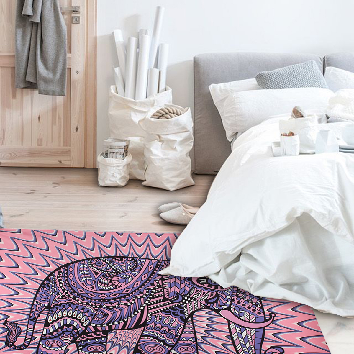 Elephant Mandala Tapestry Throw Towel Hippie Tapestry Floral Printed Home Decor Wall Tapestries Bedspread 210*150CM 19