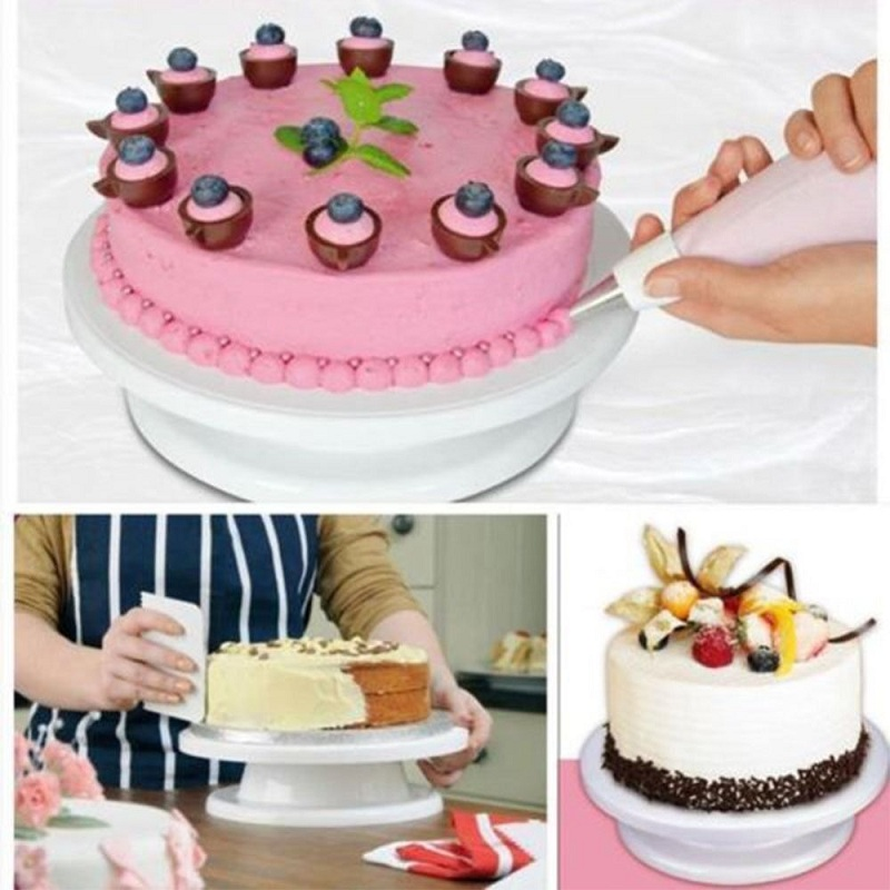 WHISM Plastic Cake Turntable Rotating Cake Decorating Tools Turntable Anti-skid Round Cake Stand Cake Rotary Table Platform
