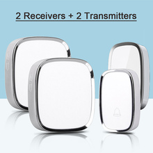 New Arrival EU Plug 2 Transmitter 2 Receivers Wireless Waterproof Door Bell Smart 36 Melody Doorbells