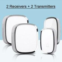 New Arrival EU Plug 2 Transmitter+2 Receivers Wireless Waterproof Door Bell Smart 36 Melody Doorbells 220V Wireless Doorbells