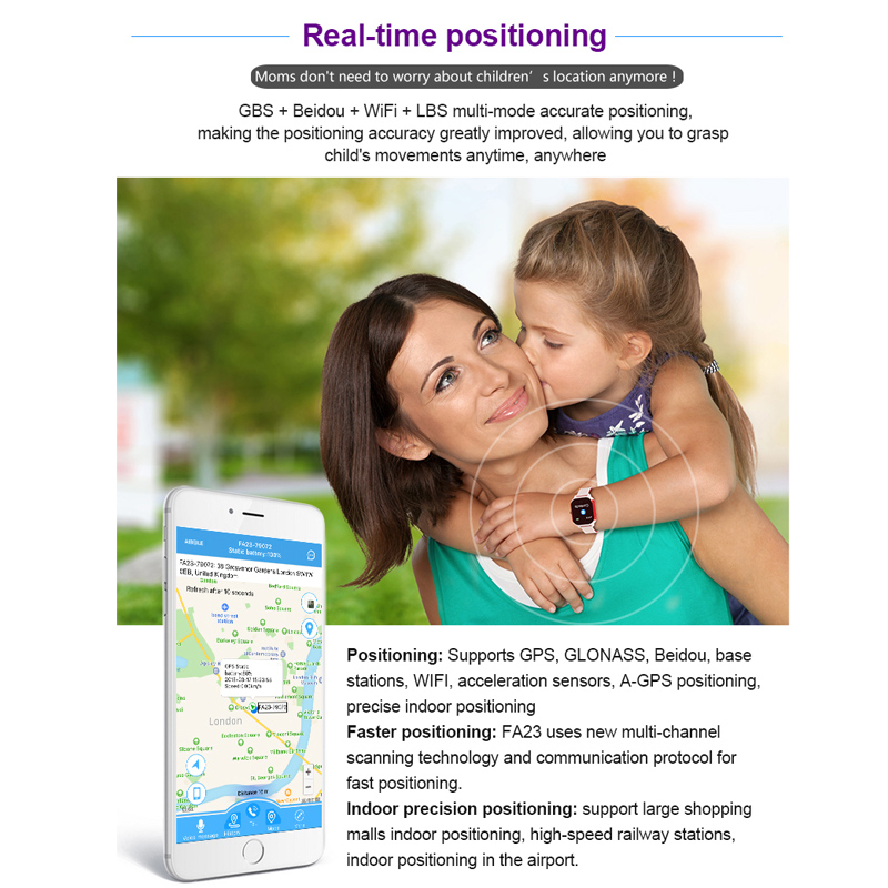 Image 3 - FA23 Smart Children Watch IP67 Waterproof Baby SIM Card Touch Screen GPS WIFI SOS Tracker Kids Alarm Clock Anti Lost Smartwatch-in Smart Watches from Consumer Electronics