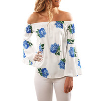 KLV 2017 Women Fashion S exy Long Sleeve Off Shoulder Floral Printed Blouse Casual Tops