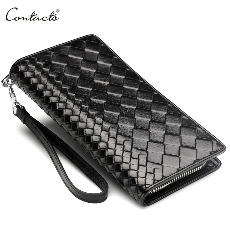 CONTACT'S Intrecciato Men Wristlet Clutch Bag 100% Genuine Leather Zipper Around Wallets With Phone Holder Coin Pocket Purse leinasen brand long wallets oxford men clutch bag with strap handy zipper purse man card holder phone pocket large capacity 2017