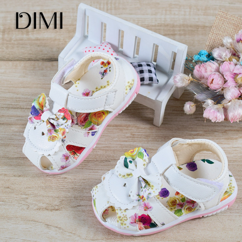 2018 Baby Sandals Newborn Baby Girl Sandals Summer Floral Baby Shoes Fashion Infant Sandals For Girls Leather Baby Shoes 15-25