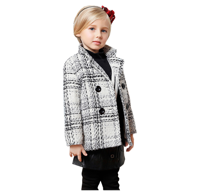 3da522683 2018 Winter Fashion Plaid Jacket for Baby Girl Children s Woolen ...