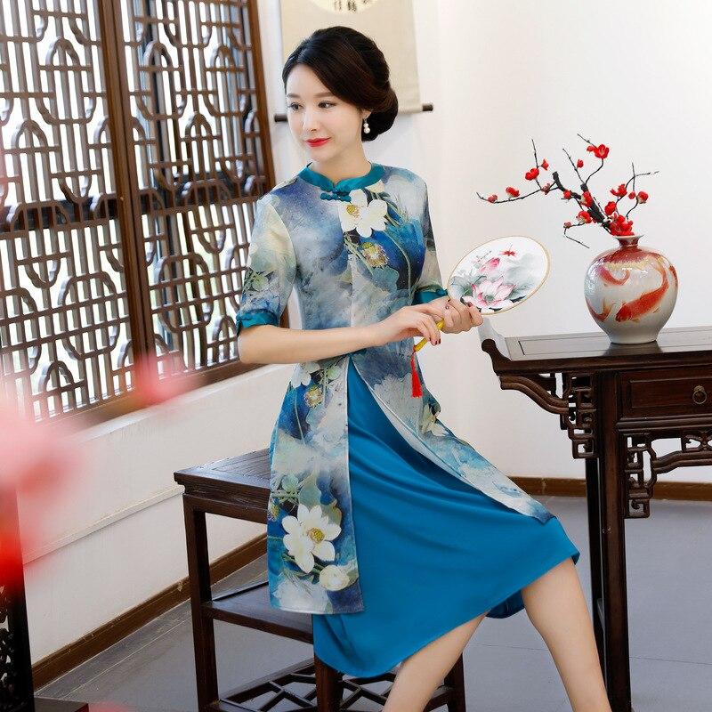 New Rayon Traditional Chinese Women Simple Dress Vintage Lady Floral Vietnam Aodai Qipao Summer Sexy Short Cheongsam
