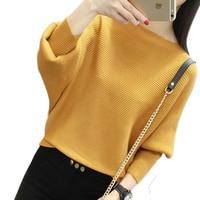 Рукав летучая мышь свободный осенний женский пуловер свитер желтый вязаный Модный женский пуловер Новое поступление полосатые пуловеры и ...