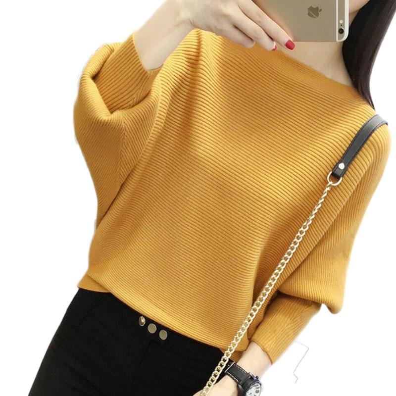 Batwing Hülse Lose Herbst Frauen Pullover Pullover Gelb Stricken Mode Weibliche Ziehen Neue Ankunft Gestreiften Pullover und Pullover
