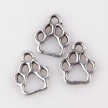 Wholesale 200pcs Tibetan Silver zinc Alloy Hollow Bear Footprint Charms Pendants 13x11mm Jewelry Findings ZH0355 недорого
