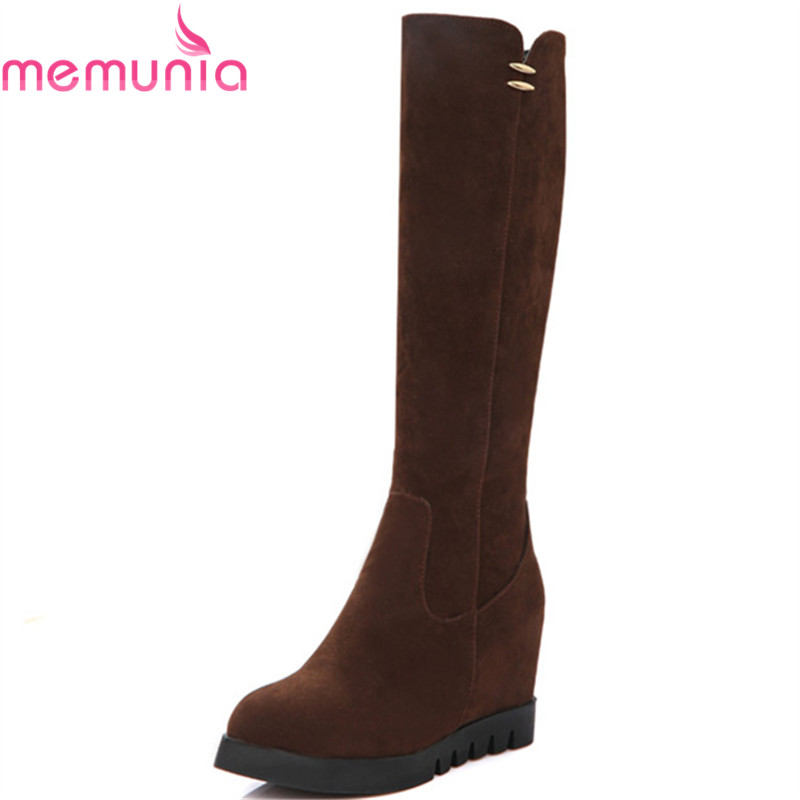 MEMUNIA Two colors knee high boots for women autumn winter boots height increasing zip flock solid platform shoes size 34-43 large size 34 41 simple leisure height increasing round toe zip women boots winter genuine leather solid knee high boots