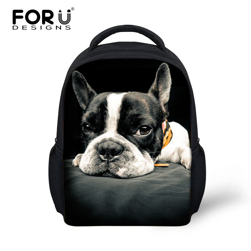 FORUDESIGNS Bulldog Pug Bulldog Rucksack Small Back Pack For Kindergarten Children Backpacks Kids Girls School Backpacks 2017