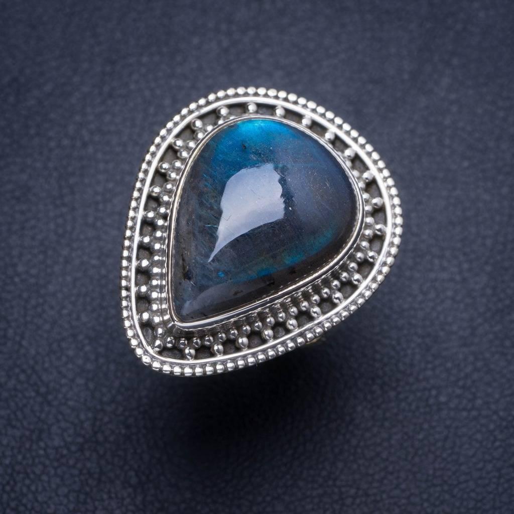 Natural Blue Fire Labradorite Handmade Unique 925 Sterling Silver Ring 6.25 Y4076 natural blue fire labradorite handmade boho 925 sterling silver earrings 1 25 u0962