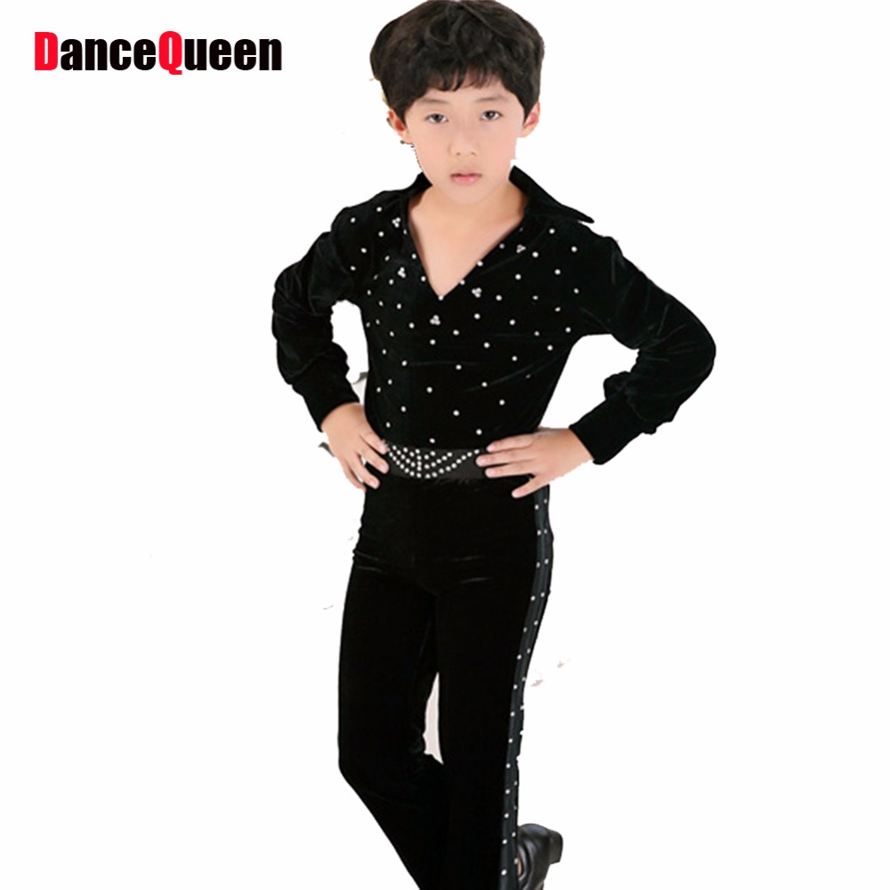 2018 New Latin Dancing Boy Top&Pants Child Clothing For Dance Cha Cha/Rumba/Samba/Ballroom Dancewear Fitness Clothes DQ6024