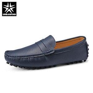 Image 3 - URBANFIND Size 50 Men Casual Shoes Fashion Men Shoes Genuine Leather Men Loafers Moccasins Slip On Mens Flats
