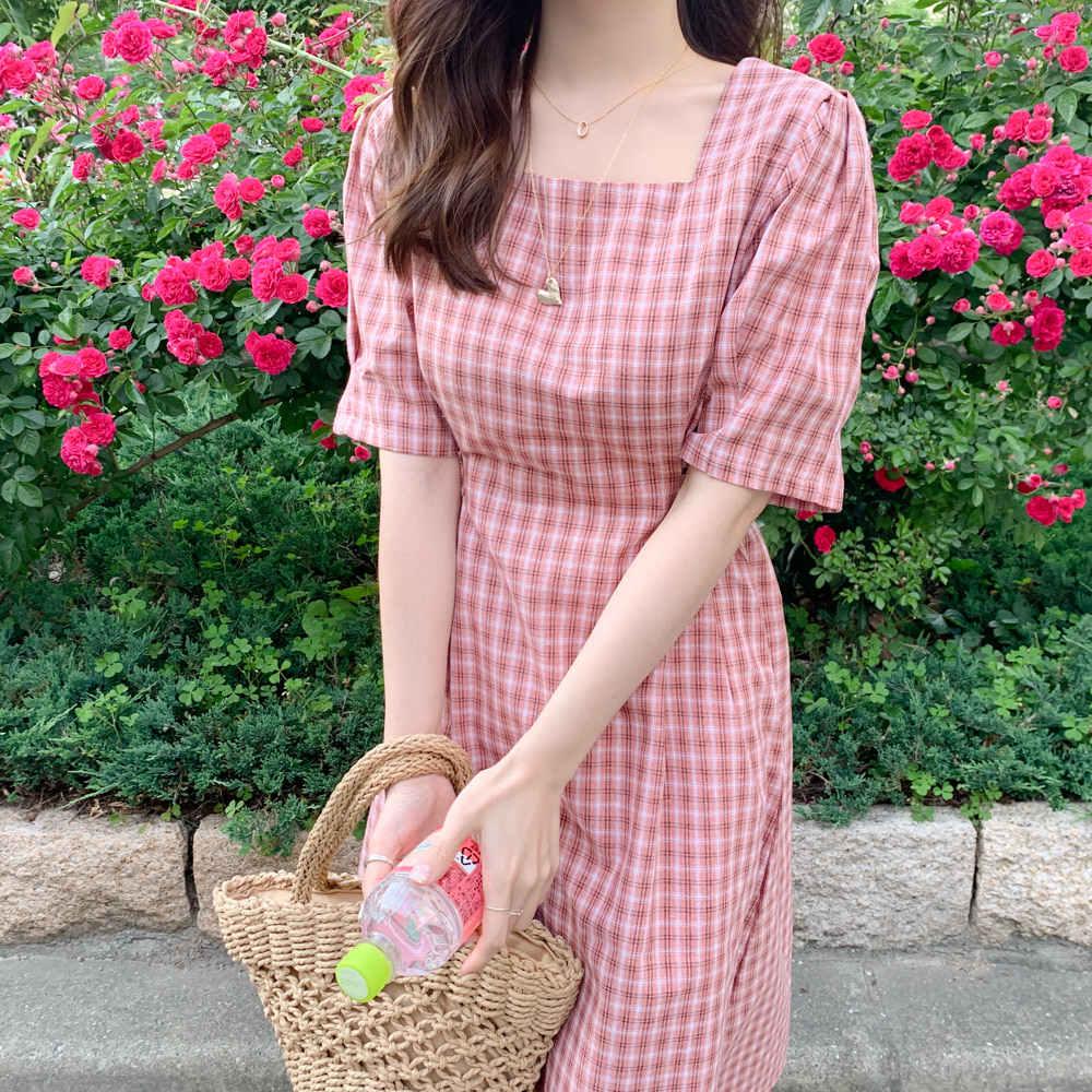 Летнее платье с квадратным воротником женское хлопковое льняное Повседневное платье с коротким рукавом женское платье розовое платье в клетку Женская одежда с стиле Бохо Vestido