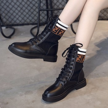 2018 New Women's Mid Calf Rain Boots Soft Autumn Lace Up Oxford Martin Shoes Woman Ladies Platform Heels PU Footwear