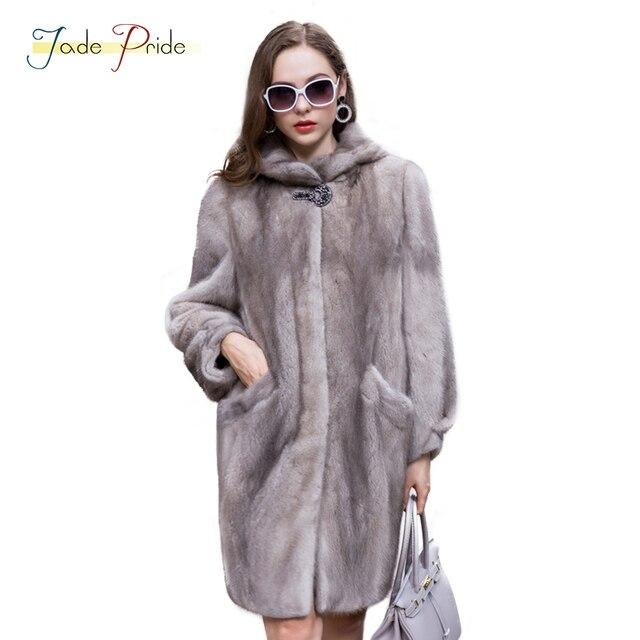 low priced 59f32 7d944 US $3318.19 |Giada Orgoglio Cappello di Inverno Caldo Furs Cappotto Grigio  di Modo Charming Reale Cappotti di visone Cappotti di Pelliccia Luxury Real  ...