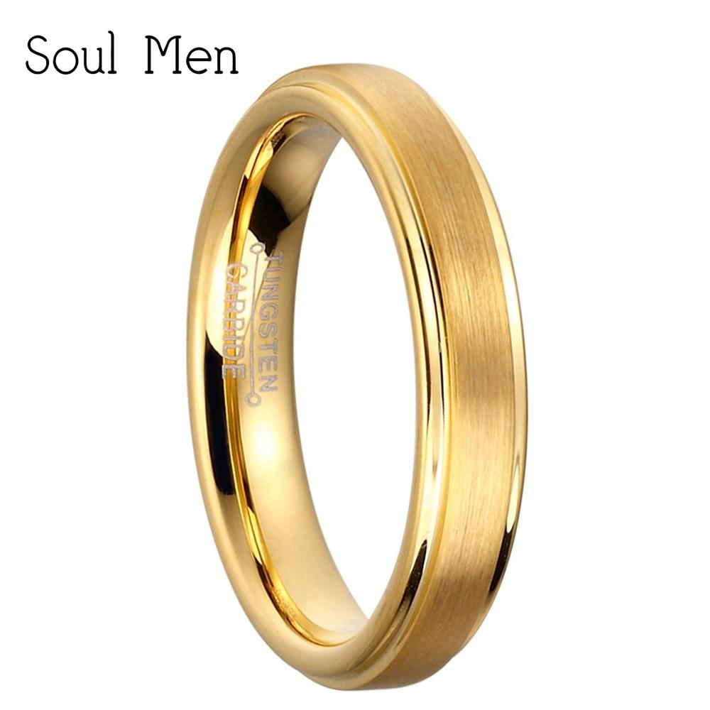 4 мм широкий Высокое качество золото Цвет одноцветное Вольфрам Свадебные Юбилей кольца для Для женщин Дамы доступны размеры США 5-10 ...