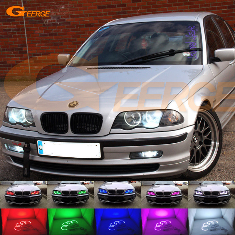 For BMW E46 3er Pre-facelift 1998-2001 Excellent led angel eyes Multi-Color Ultra bright RGB LED Angel Eyes kit Halo Rings for mitsubishi lancer 2008 2015 non projector excellent multi color ultrabright 7 colors rgb led angel eyes halo rings led light