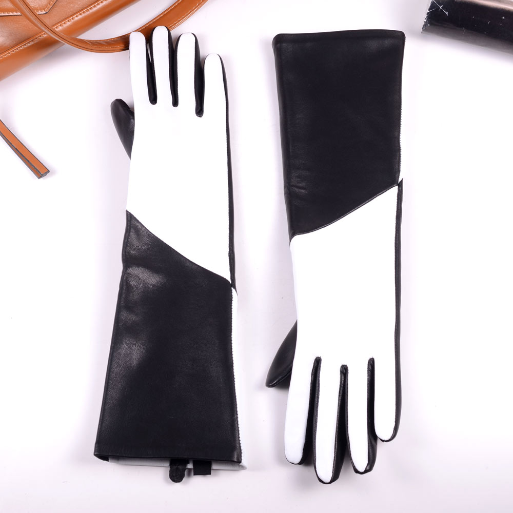 New 40cm Women's Ladies Real leather fashion Color blocking Party Evening opera/long gloves mid-long gloves