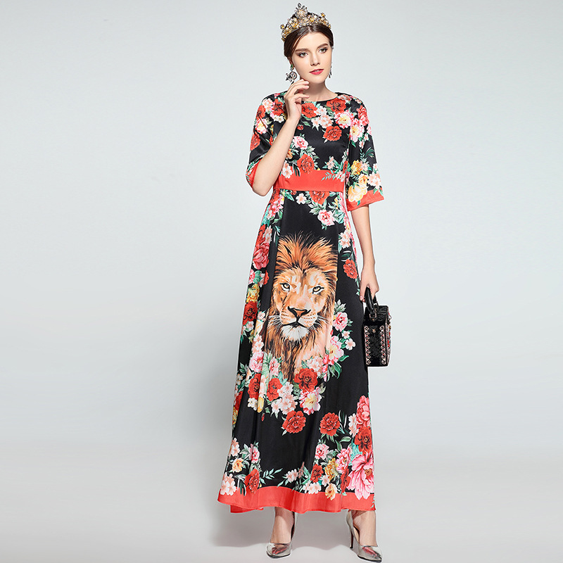 New Arrival 2018 Womens O Neck Half Sleeves Florals Tiger Printed Elegant A Line Long Casual Designer Dresses