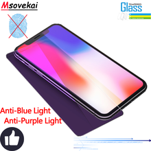 Tempered Glass For iPhone 8 Plus Xs Max XR 6S 7 5S SE Anti Blue Purple Light Frosted Matte No Fingerprint Screen Protector