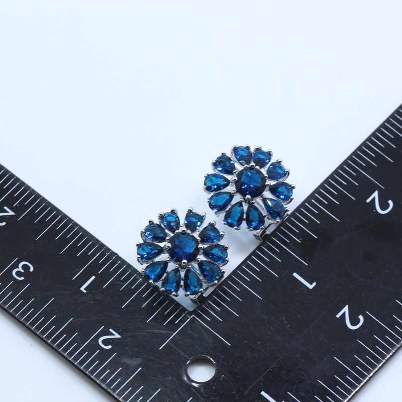 2017 הגעה חדשה הכחול זירקון 925 כסף עגיל שרשרת סט תכשיטי פרח נשים שרשרת תליון טבעת JS23