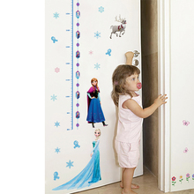 Disney Lovely Elsa Anna Princess Wall Stickers Girl Decals Frozen Mural Art Growth Chart For Kids Height Measure Home Decoration