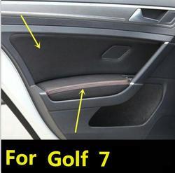 Microfiber frente/painel traseiro da porta + capa de couro do braço guarnição protetora para o golfe 7 2014 - 2018 com encaixes de montagem