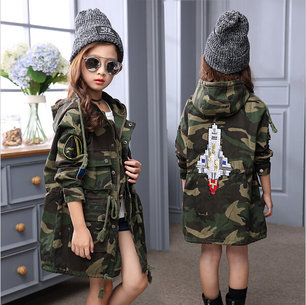 New Autumn Baby Girls Outwear Coat Children Camouflage Hooded Jackets Kids Long Sleeve Trench Jacket Girl Long Coats clothing teenager girl dot trench coat outwear kids hooded clothes spring and autumn jacket children s clothing 15380421