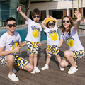 Conjunto de la familia de algodón ocasional t shirts + shorts 2 unids madre e hija padre hijo family clothing sets estilo familiar ropa 3xl cy79