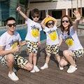 Ocasional set família algodão camisetas + shorts 2 pcs conjuntos clothing família filho pai mãe e filha família estilo roupas 3xl cy79