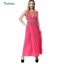 Tonlinker Muslim Dress Summer Women Sleeveless Maxi Dubai Abaya Jalabiya Islamic Embroidery Malaysia India Clothing