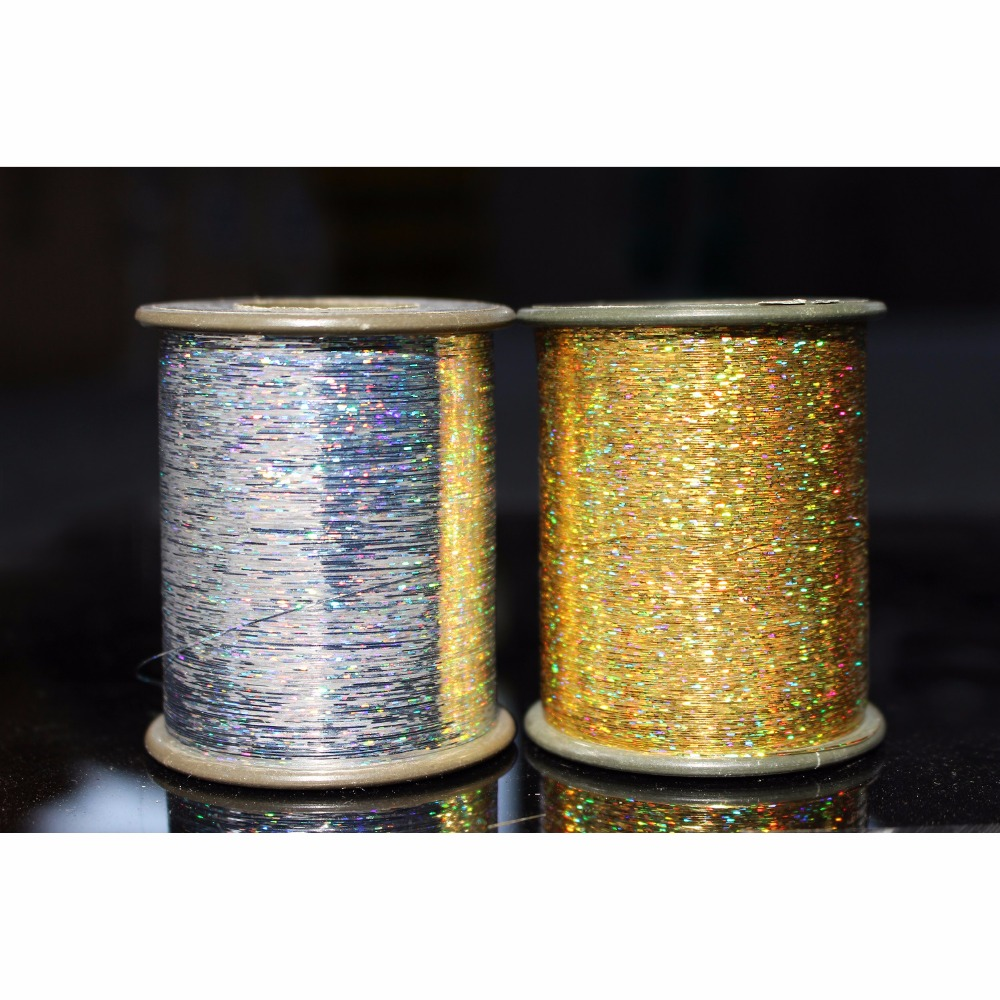 Tigofly 1 Spool 7000m 0.3mm Flashabou Holographic Tinsel Laser Flat Mylar Tinsel Sparkle Crystal Flash Trout Fly Tying Materials