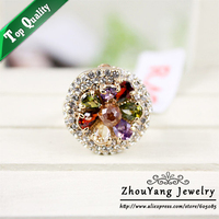 ZYR182 Luxury Crystal Flower Ring 18K Champagne Gold Plated Made With Genuine Austrian Crystals Full Sizes