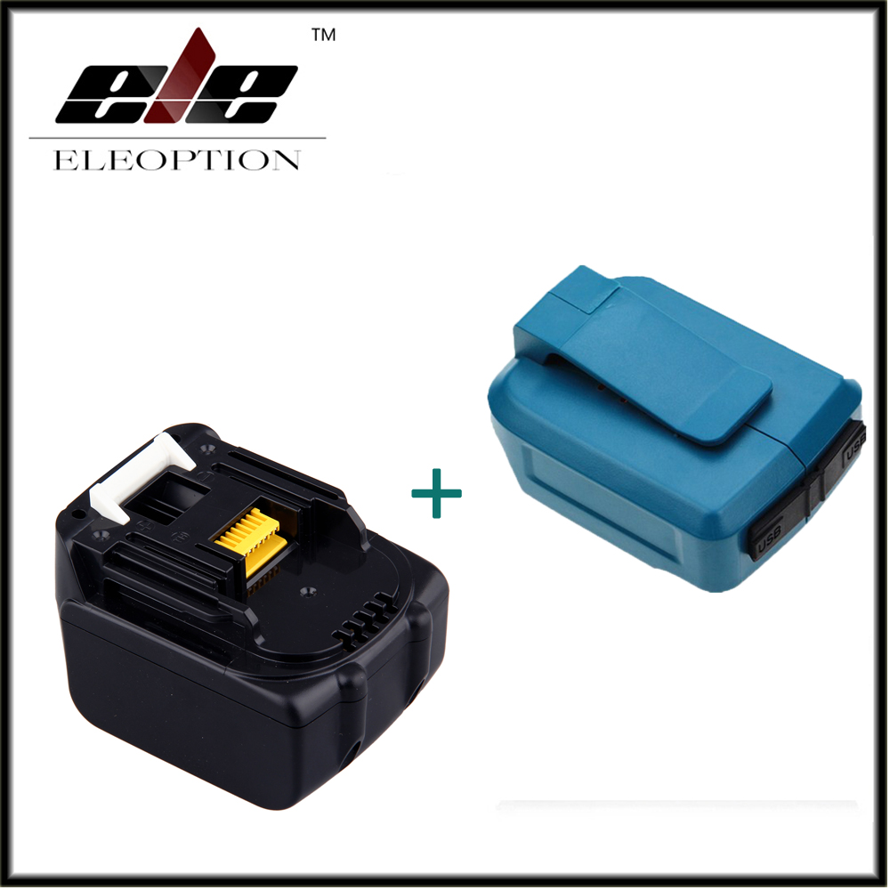 Eleoption 14.4 V 3.0Ah 3000 mAh Li-ion batterie de remplacement pour Makita BL1430 194066-1 194559-8 + double adaptateur chargeur USB