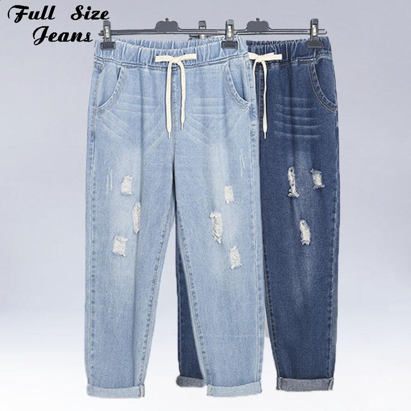Plus Size Ripped Ankle Length Elastic Waist Denim   Jeans   Womens 4Xl Boyfriend Streetwear Harem Pants Blue Girl'S Cotton Capri