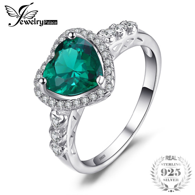 JewelryPalace Heart Of Ocean 1.8ct Created Emerald Love Forever Halo Promise Rin