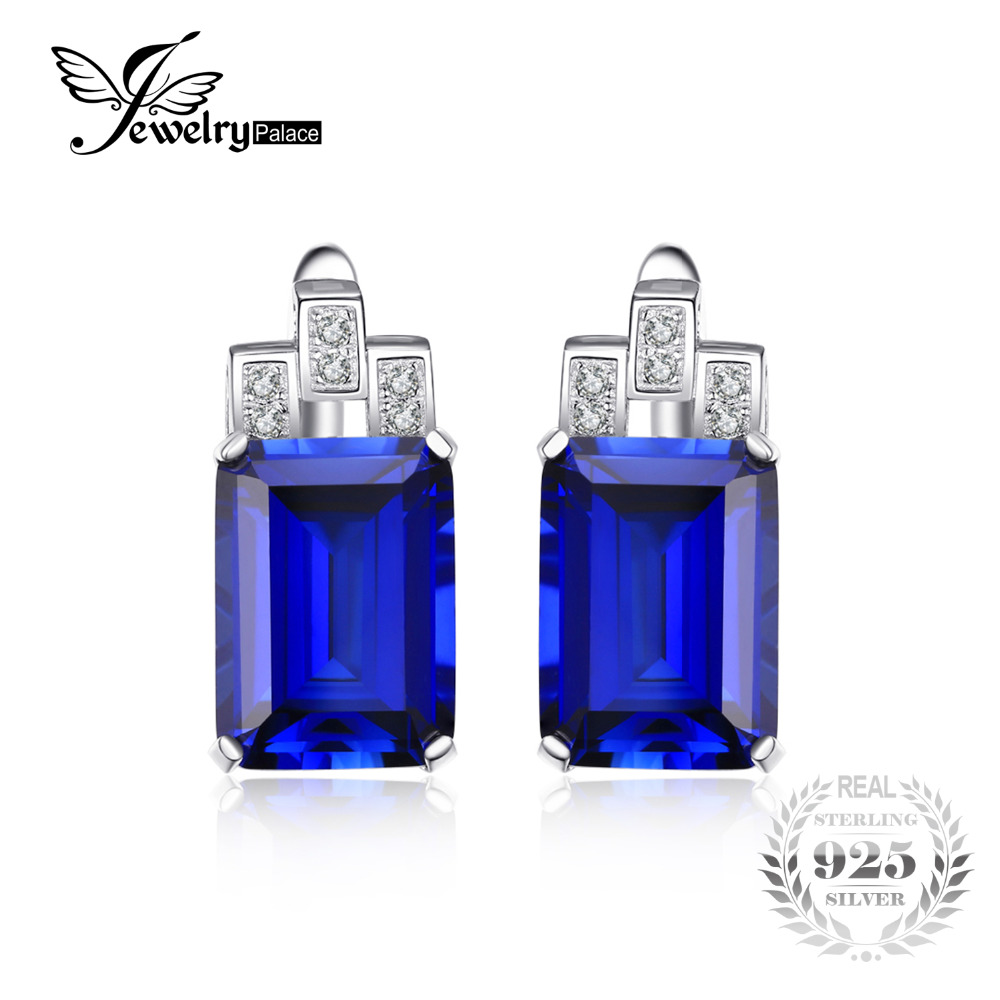 JewelryPalace Luxury Emerald Cut 12 1ct Created Blue Sapphire clip earrings 925 Sterling Silver Fashion Jewelry